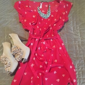 Red Flowy dress with Unicycle print